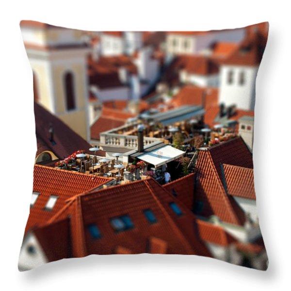 Tiny Roof Restaurant Throw Pillow by Joerg Lingnau