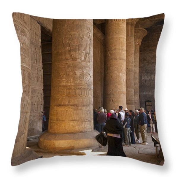 Tourists Wander Through The Temple Throw Pillow by Taylor S. Kennedy
