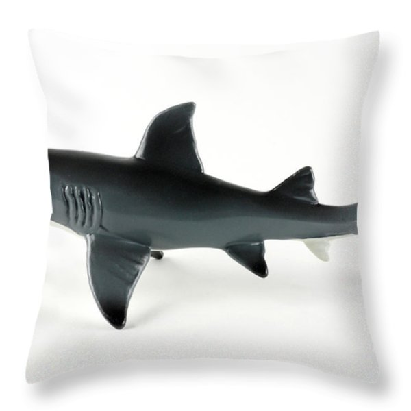 Toy Shark Throw Pillow by Photo Researchers, Inc.