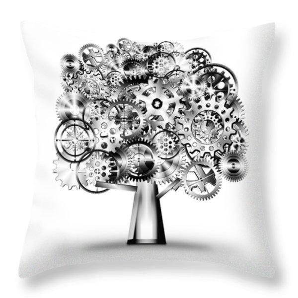 tree of industrial Throw Pillow by Setsiri Silapasuwanchai