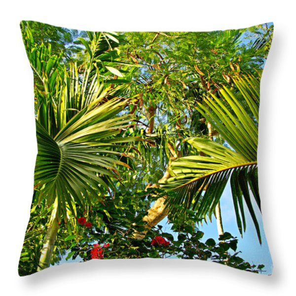 Tropical Plants Throw Pillow by Zalman Lazkowicz