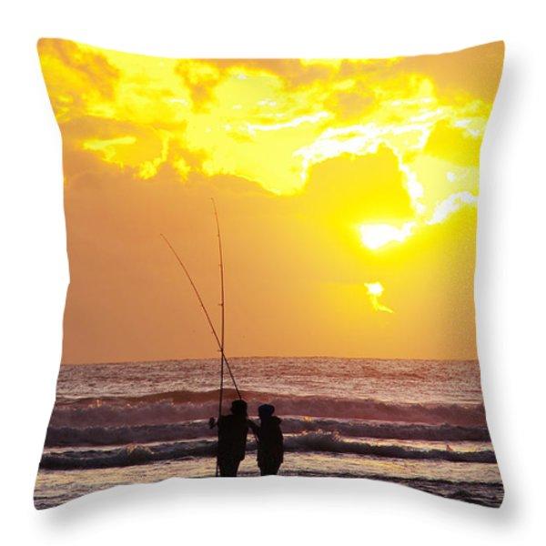 Two Fisherman Throw Pillow by Carlos Caetano