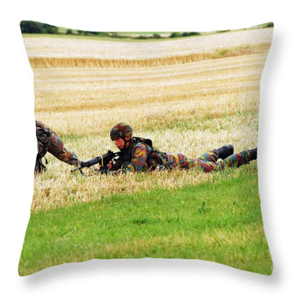 Two Soldiers Of The Belgian Army Throw Pillow by Luc De Jaeger