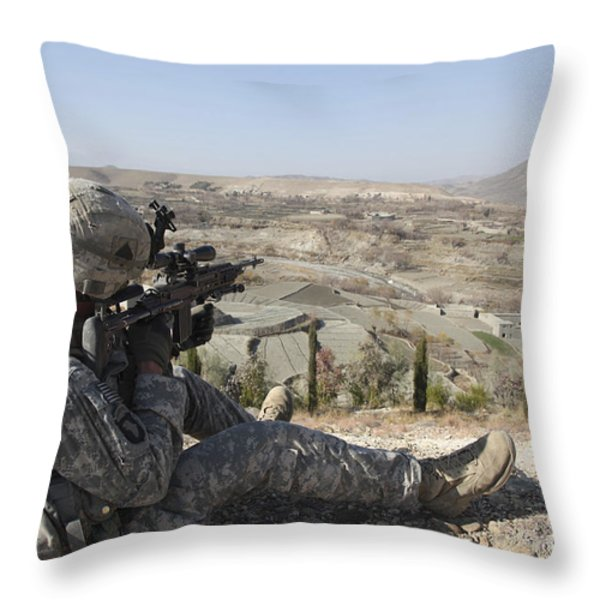 U.s Army Soldier Scans His Sector Throw Pillow by Stocktrek Images