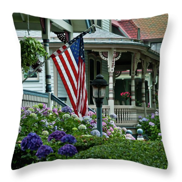 Victorian House And Garden. Throw Pillow by John Greim