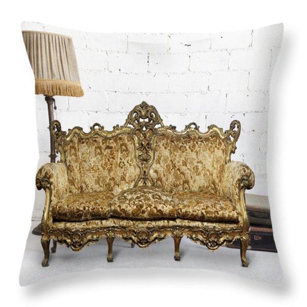 Victorian Sofa In White Room Throw Pillow by Setsiri Silapasuwanchai