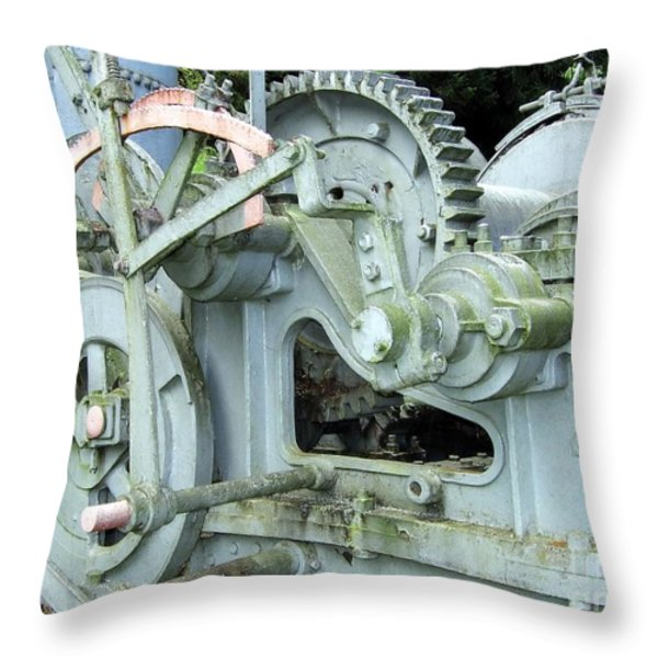Vintage Steam Powered Lumber Collector Throw Pillow by Yali Shi