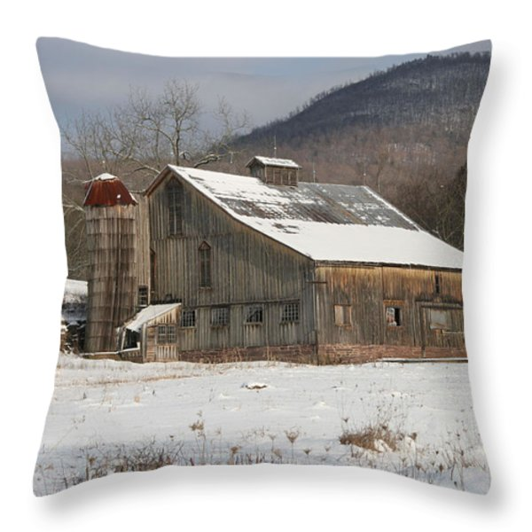 Vintage Weathered Wooden Barn Throw Pillow by John Stephens