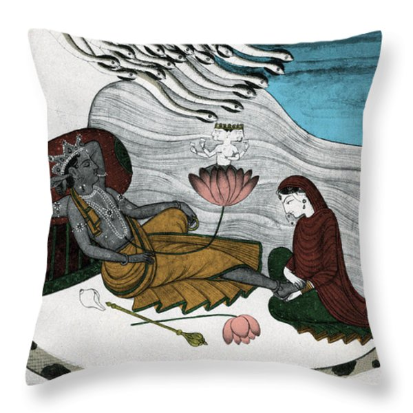 Vishnu And Lakshmi Throw Pillow by Photo Researchers