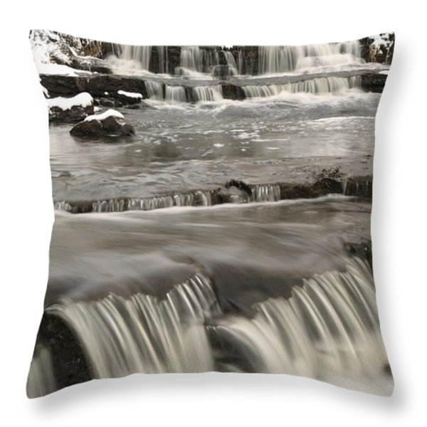 Waterfalls With Fresh Snow Thunder Bay Throw Pillow by Susan Dykstra