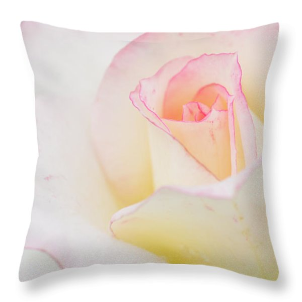 White Rose With Pink Edge Throw Pillow by Atiketta Sangasaeng
