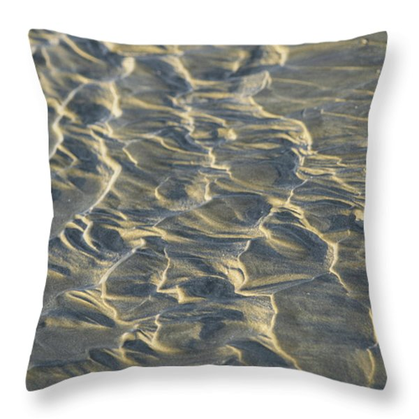 White Sand Turns Almost To A Silvery Throw Pillow by Todd Gipstein