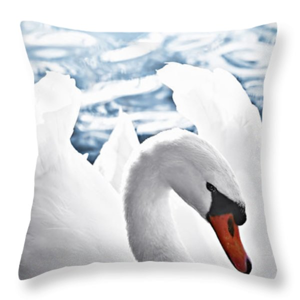 White swan on water Throw Pillow by Elena Elisseeva