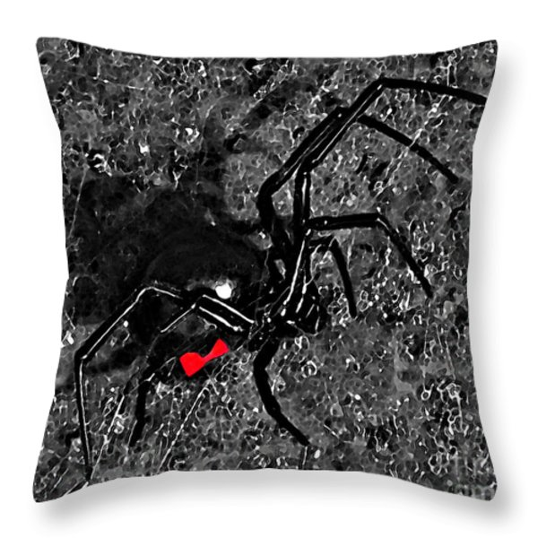 Wicked Widow - Selective Color Throw Pillow by Al Powell Photography USA