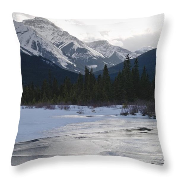 Winter Landscape, Banff National Park Throw Pillow by Keith Levit