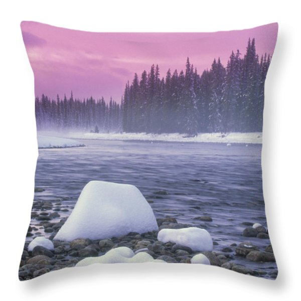 Winter Sunset On Bow River, Banff Throw Pillow by Darwin Wiggett