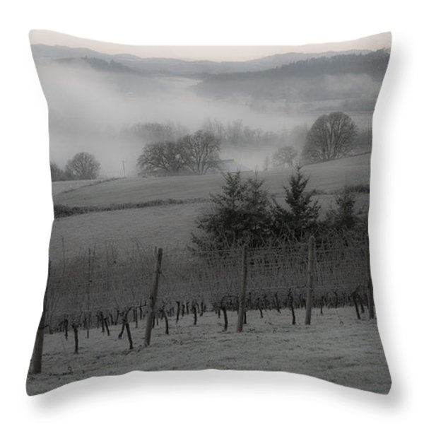 Winter Vineyard Throw Pillow by Jean Noren