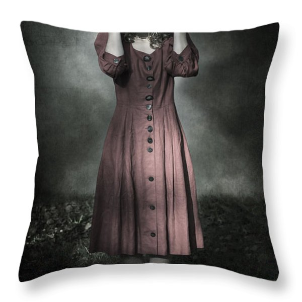 woman and teddy Throw Pillow by Joana Kruse