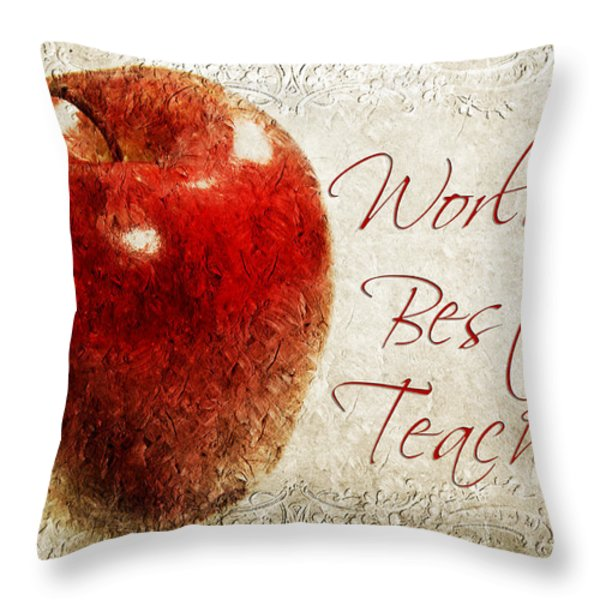 Worlds Best Teacher Throw Pillow by Andee Design