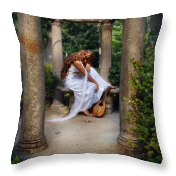 Young Woman As A Classical Woman Of Ancient Egypt Rome Or Greece Throw Pillow by Jill Battaglia