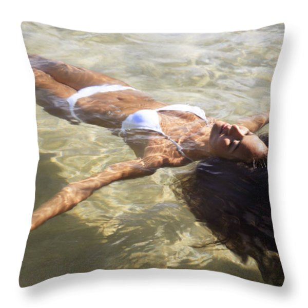 Young woman in the water Throw Pillow by Brandon Tabiolo - Printscapes