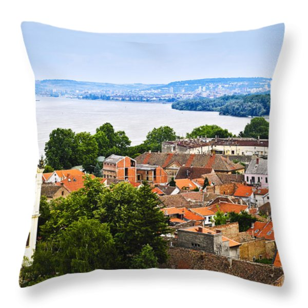 Zemun rooftops in Belgrade Throw Pillow by Elena Elisseeva