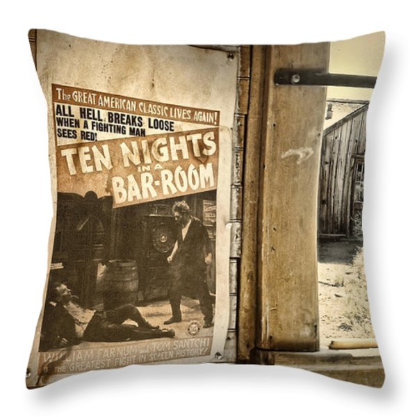 10 Nights in a Bar Room Throw Pillow by Scott Norris