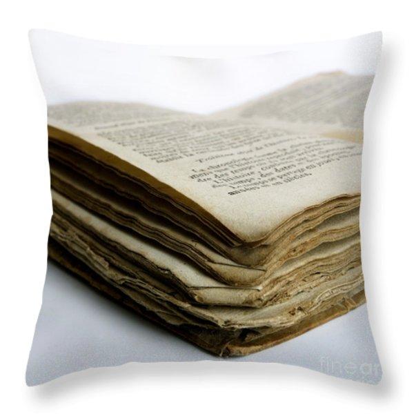 Old book Throw Pillow by BERNARD JAUBERT