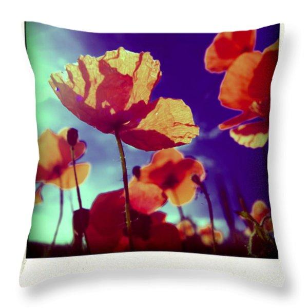 Field Of Poppies Throw Pillow by Bernard Jaubert