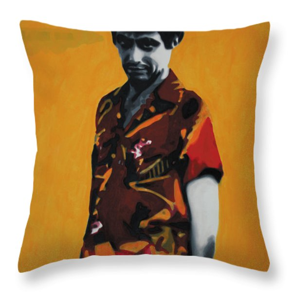 - Scarface - Throw Pillow by Luis Ludzska