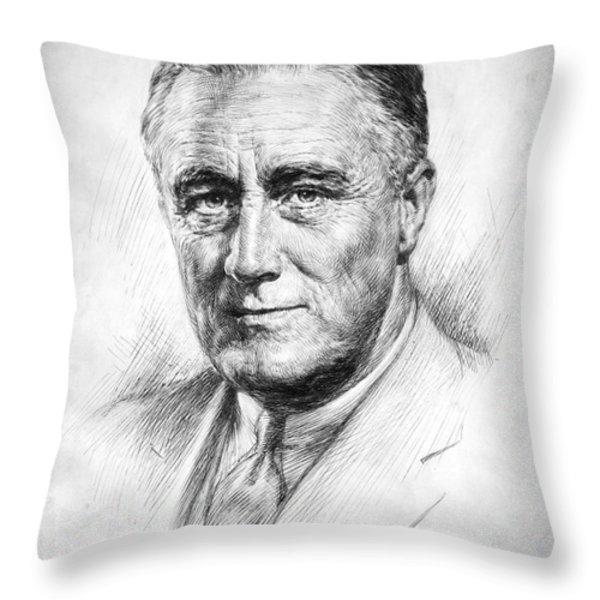 Franklin Delano Roosevelt Throw Pillow by Granger