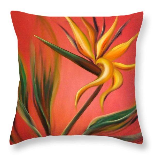 Throw Pillows - Bird of Paradise Throw Pillow by Gina De Gorna
