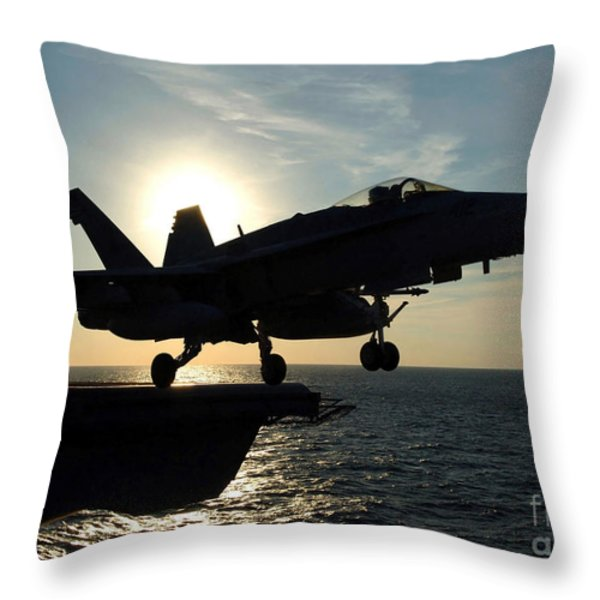 An Fa-18c Hornet Launches Throw Pillow by Stocktrek Images