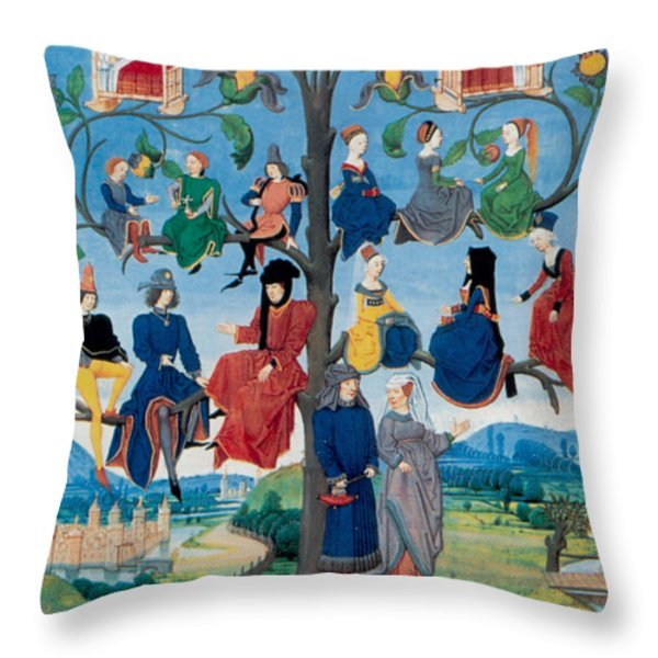 15th-century Family Tree Throw Pillow by Photo Researchers
