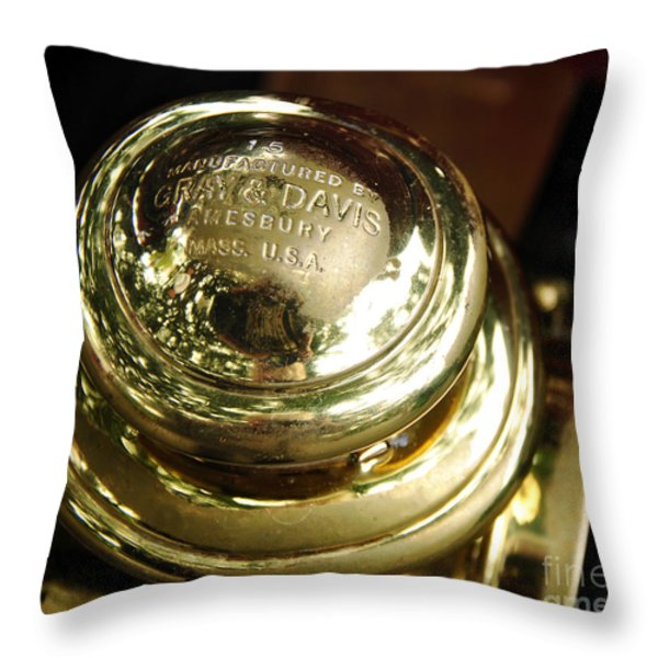 1907 Stanley Steamer - Top view Brass Tail Light Throw Pillow by Kaye Menner