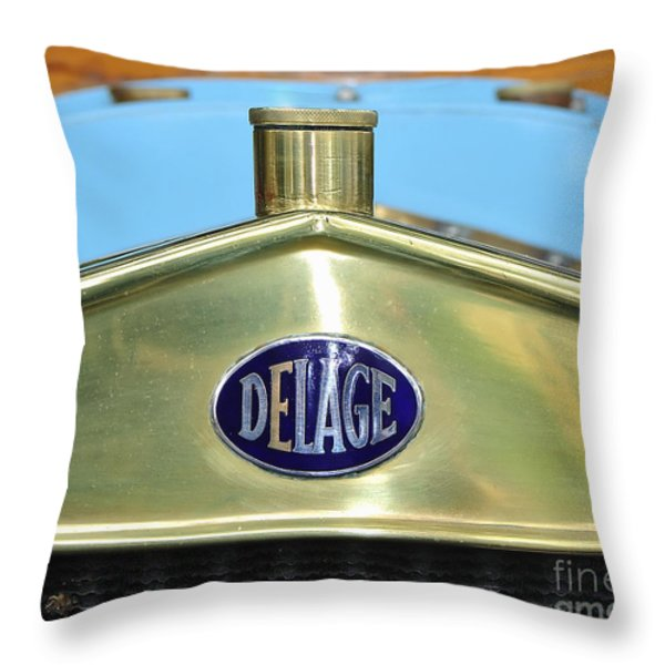 1909 Delage Badge Throw Pillow by Kaye Menner