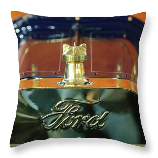 1911 Ford Model T Runabout Hood Ornament Throw Pillow by Jill Reger