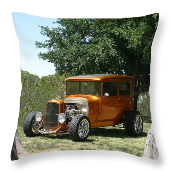 1929 Ford Butter Scorch Orange Throw Pillow by Jack Pumphrey