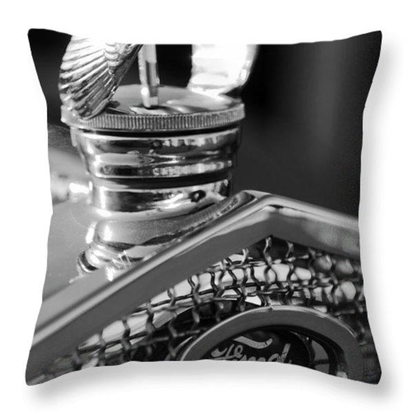 1930 Ford Quail Hood Ornament 3 Throw Pillow by Jill Reger