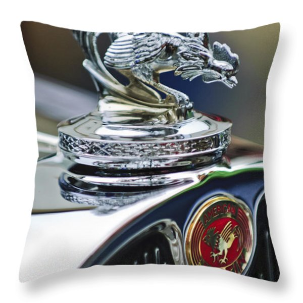 1931 American Austin Roadster Hood Ornament Throw Pillow by Jill Reger