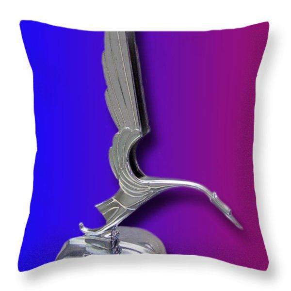 1931 Cadillac V-16 Heron Mascot Throw Pillow by Jack Pumphrey