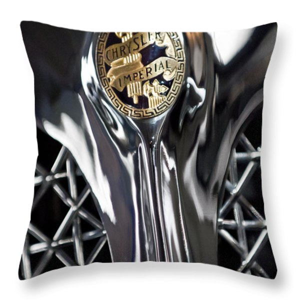 1931 Chrysler Cg Imperial Roadster Hood Emblem Throw Pillow by Jill Reger