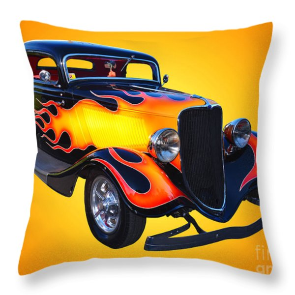 1934 Ford 3 Window Coupe Hotrod Throw Pillow by Jim Carrell