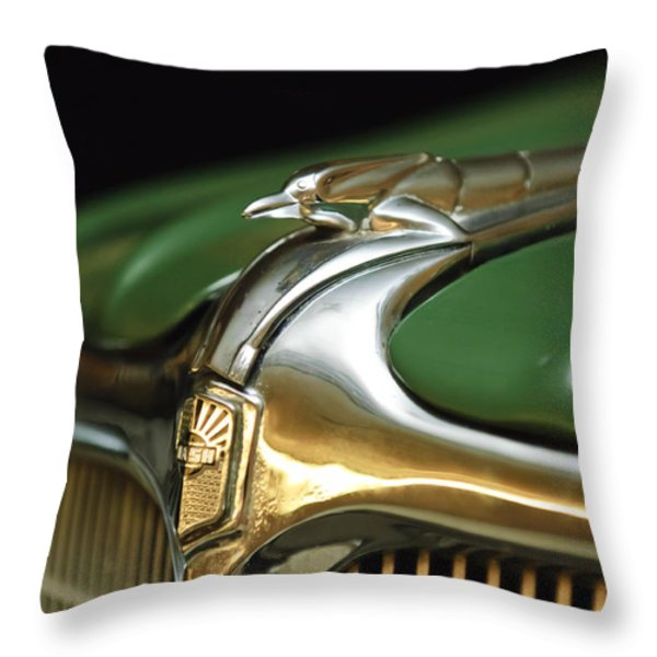 1934 Nash Ambassador 8 Hood Ornament Throw Pillow by Jill Reger