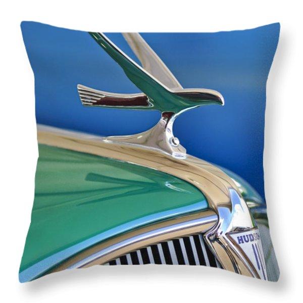 1935 Hudson Touring Sedan Hood Ornament Throw Pillow by Jill Reger
