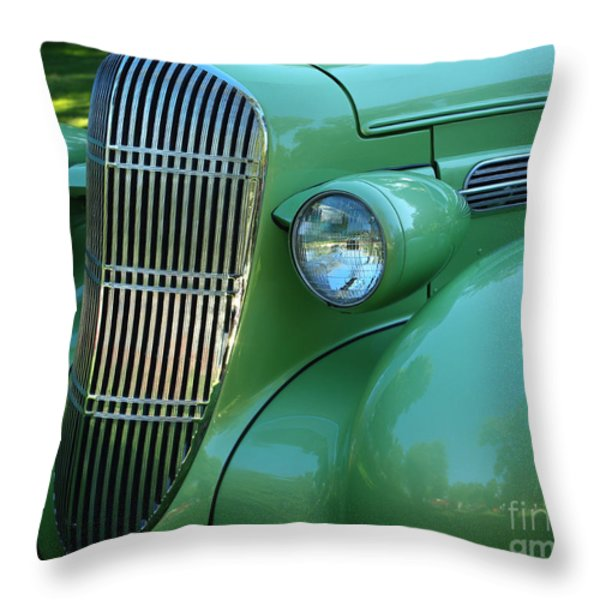 1935 Oldsmobile Grill Throw Pillow by Peter Piatt