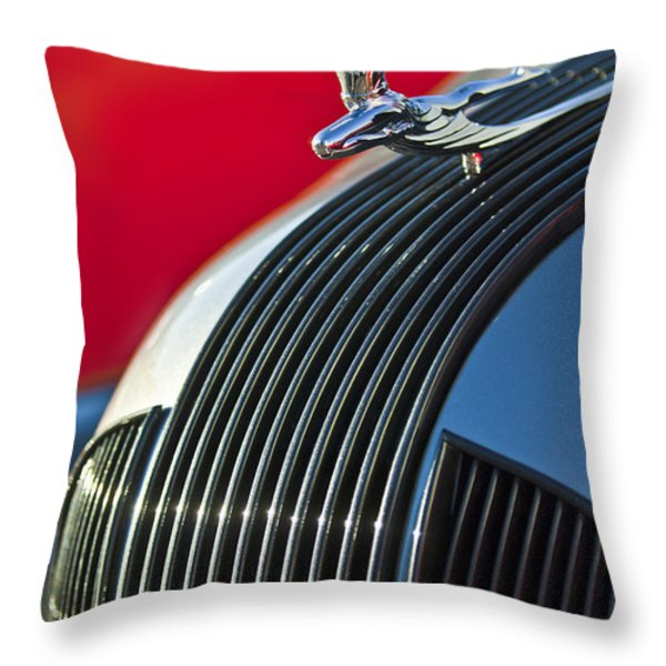 1935 Pontiac Sedan Hood Ornament Throw Pillow by Jill Reger