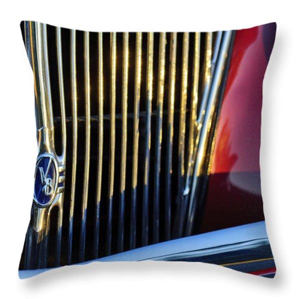 1936 Ford Phaeton V8 Grille Emblem Throw Pillow by Jill Reger