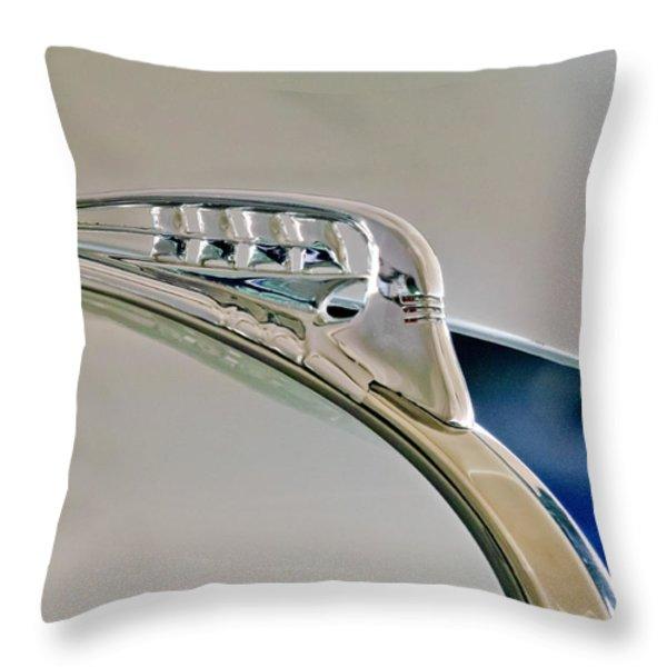 1940 Plymouth Hood Ornament 3 Throw Pillow by Jill Reger
