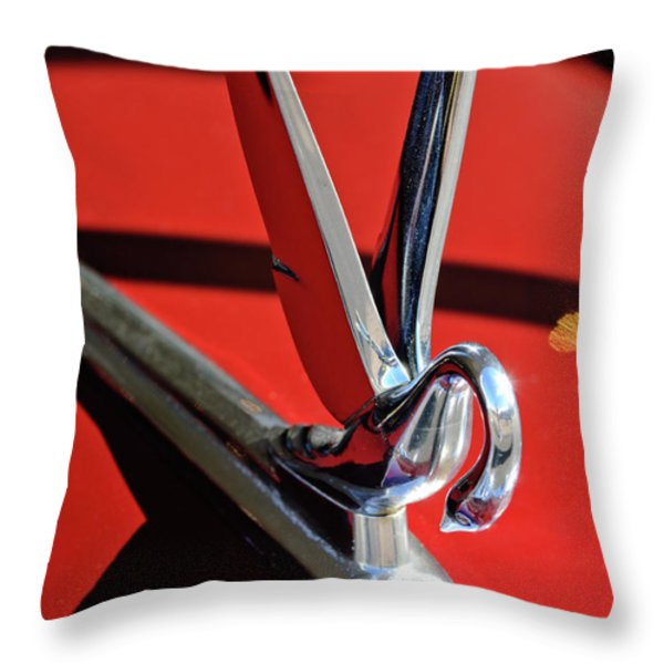 1948 Packard Hood Ornament 2 Throw Pillow by Jill Reger